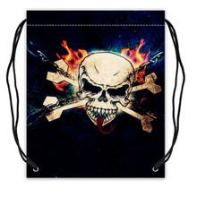 Skull Pattern Polyester Fabric Drawstring Bags Drawstring Tote