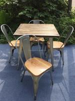 Rustic Teak Wood Square Top Dining Table
