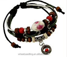 fashion genuine leather handmade leather bracelet with china bead