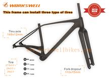 WORKSWELL Fashion Design MTB Frame 29er , cheap Carbon MTB bicycle frame , 27.5 Plus/29er/ 29er plus size mountain bike Frame