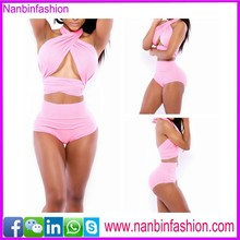 wholesale two pcs pink halter hot sexy girl photo bikini