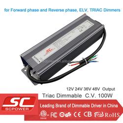 Triac dimmable 100W LED driver 36V waterproof electronics led driver pass CE ETL