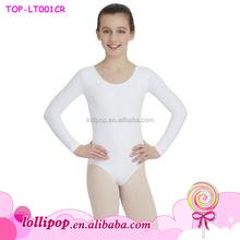 New style children artistic gymnastics leotards spandex long sleeve white ballet dance gymnastic leotard