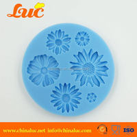 Classic 6 in 1 daisy rose flower gum paste fondant mold cup cake decorating 3D silicone molds