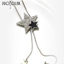 simple mix color adjustable long decorative necklace with diamond star pendant