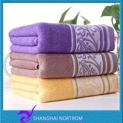 customized wholesale 100 bamboo plain dyed jacquard bath towel
