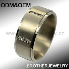 Matte couple jewelry rings embedded with 18pcs of CZ