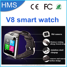 2015 New Arrival Bluetooth HD TFT LCD Touch Screen Smart Watch V8 with 2M camera