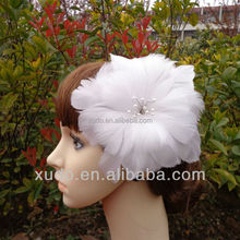 Black/white/ivory big feather hair flower for wedding/party