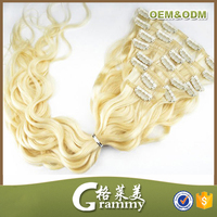 High quality white spiral curl clip in hair extensions