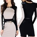 Alibaba China Whole Sale creme e preto manga comprida Ladies escritório vestido