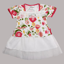 ( H3969P ) WHITE 18M-6Y Wholesale baby summer floral tulle dresses girl tutu lace dress