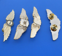 Custom metal pilot wings pin badge, engraved 3d wing metal lapel pins, metal pin badges with butterfly clasp