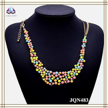 Alloy imitation gold chain colorful pearls bead design long chain fashion jewelry necklace