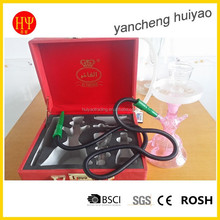 China factory price wholesale hookah al fakher glass hookah with leather suitcase portable and convenient to carry