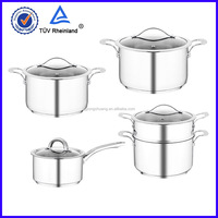 s / s luxury cookware set with vented glass lids