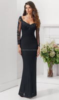 New arrival free shipping appliqued beaded floor length custom-made black long sleeve mother of the groom dresses CWF1876