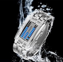 Promotion watch Unique fashion slivery stainless steel blue light Binary led watch