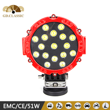 Led stand work light for heavy duty 7inch 51W off road led work light for 51W Automobile heading