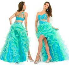 OC-515 One Shoulder Sweetheart Organza Short in front long in back prom dresses 2012