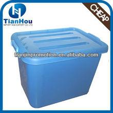 60L cheap clear plastic underbed clip handle storage container with wheels and handle