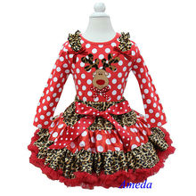 Christmas Leopard Red Polka Dots Pettiskirt Leopard Reindeer Red Polka Dots Long Sleeves Top Pettidress 1-7Y