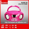 New product RLBX-19 USB AUX-IN Battery powered portable mini boombox cd player