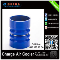 "CAC421-4-7 ID4"" L7"" Blue Charge Air Coolers Hot side CAC silicone rubber air Hose for supercharger"
