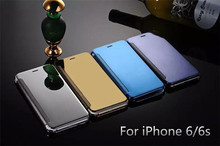 100% Plated Smart Sleep Wake Up Flip Mirror Leather Cover For iPhone 6 Housing, For iPhone 6/6s Mirror Leather Case