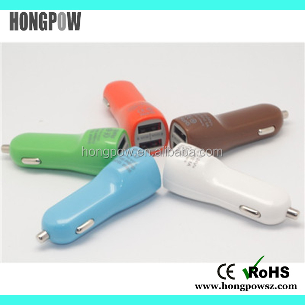 Multipurpose Colorful Dual USB car charge , fast usb charger , car battery charges