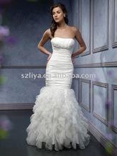 Surmount Design Fashion Beautiful Mermaid Tulle Satin Designer Mermaid Bridal Gowns Wedding Dress