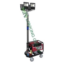 Movable LED lighting with generator for construction site