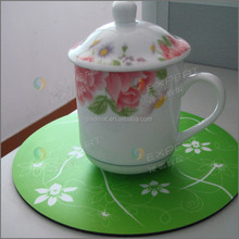 Fashionable & Non-toxic & Practical Round Shaped Printed Rubber Coaster