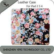 Wholesale Leather Case For Apple iPad 2 3 4 Flowers Pattern Stand Case With Card Slot Leather Phone Case For iPad 2 3 4