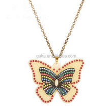 Big Acrylic Butterfly Shape Bead Pendant Necklace