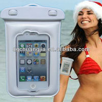 Portable clear pvc waterproof travel pouch with earphones