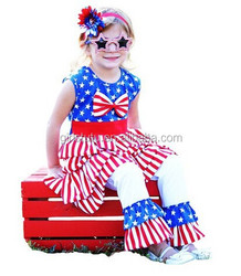New Patriotic Children Girl Clothing Sets Cheap Newborn Baby Kids 4th of July American Flag Bule Red Cotton Boutique Outfits