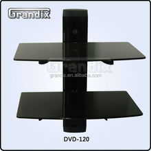 Two tempered glass with set-top box tv mount dvd wall bracket