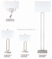 2015 UL USA power outlet hotel lamp with stainless steel night stand lamp