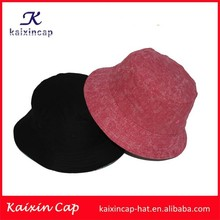 2015 wholesale cotton high quality&cheap black and pink all over prinitng bucket caps with string