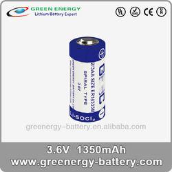 3.6v enduring lithium liso2 cell battery ER14335M 1350mah dry cell battery