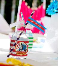 HY brand purple striped paper straws, milk paper straws