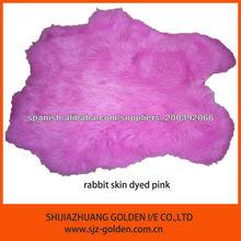 conejo de la piel teñida de color rosa, piel de conejo color teñido