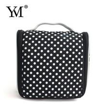 Black nylon white dots cosmetic travel bags for women