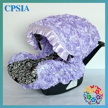 3D Lavender Rosette Flower With Black Classical Printing Cute PVC Car Seat Cover Wholesale Children Kids Toddler Car Seat Cover