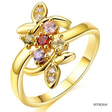 Exquisite AAA cubic zirconia 18K gold rings jewelry for BFF, cheap wholesale beautiful friendship rings