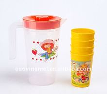 plastic water pitcher match with four cups