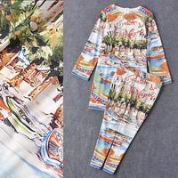 Top Quality New 2016 Fashion Clothes Set Women Digital Print Long Tops Blouse+Skinny Leg Capri Pants(1Set)2 Piece Pant Suit