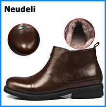 TOP Quality Cowhide Leather Men's Boots Factory Cheap Price Winter Wool Shoes Men Ankle Boots for Sale