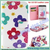 High Quality Colorful Flowers Pattern Flip Leather Case for LG G3 Case with Card Slot